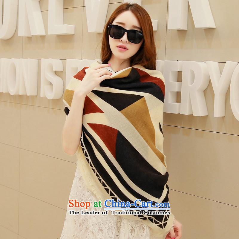 Shawl long autumn winter shawl scarf female winter oversized cloak Fancy Scarf dual-use thick beige