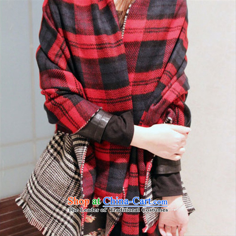 The end of the scarf of dual-use thickened shawl increase of autumn and winter duplex latticed edging 2015 new emulation pashmina shawl female increase Grid Width 68cm long 12 cm