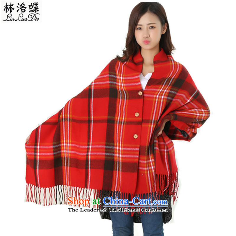 Lin, butterfly聽2015 new autumn warm winter shawl scarf warm air-conditioning coin pashmina shawl latticed emulation edging lisping students scarf latticed coin shawl red