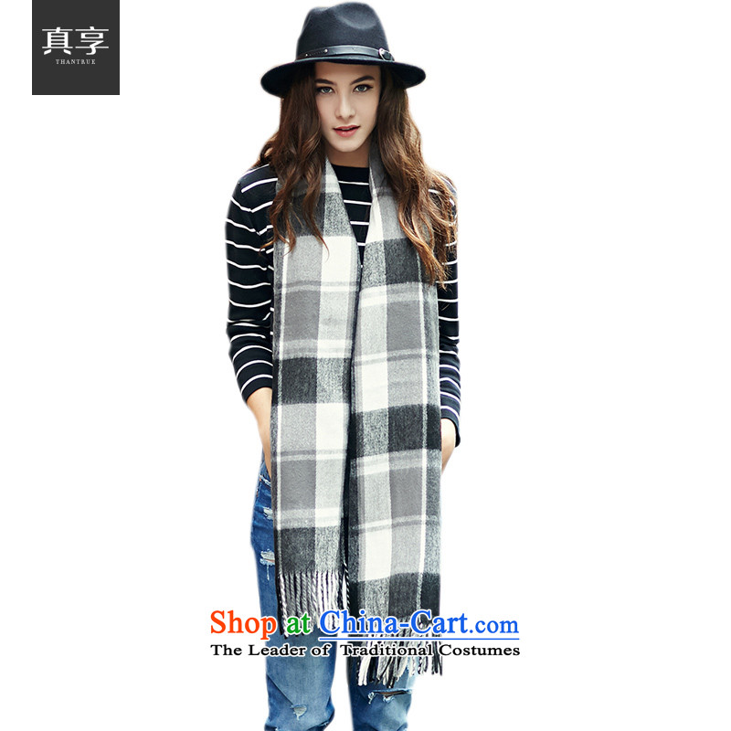 Enjoy the stylish Ms. really Knitting scarves England Plaid widen extension shawl W024 Black Gray Plaid