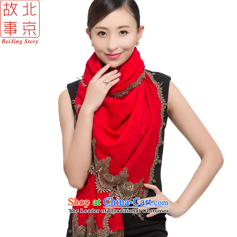 Beijing story o wooler scarf female autumn and winter long shawl Pure wool a15020- Red