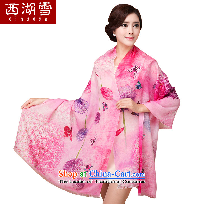 The Hsihu snow wooler scarf female autumn and winter warm a shawl Korean increase silk scarf dandelion red