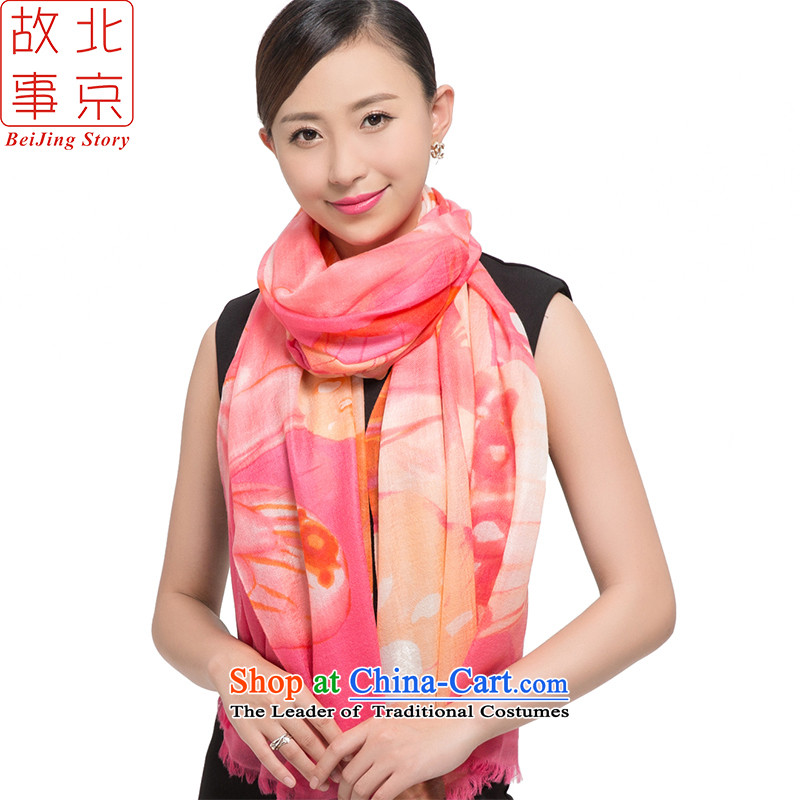 Beijing story pashmina 200 female Thick Long shawl butterfly Pink