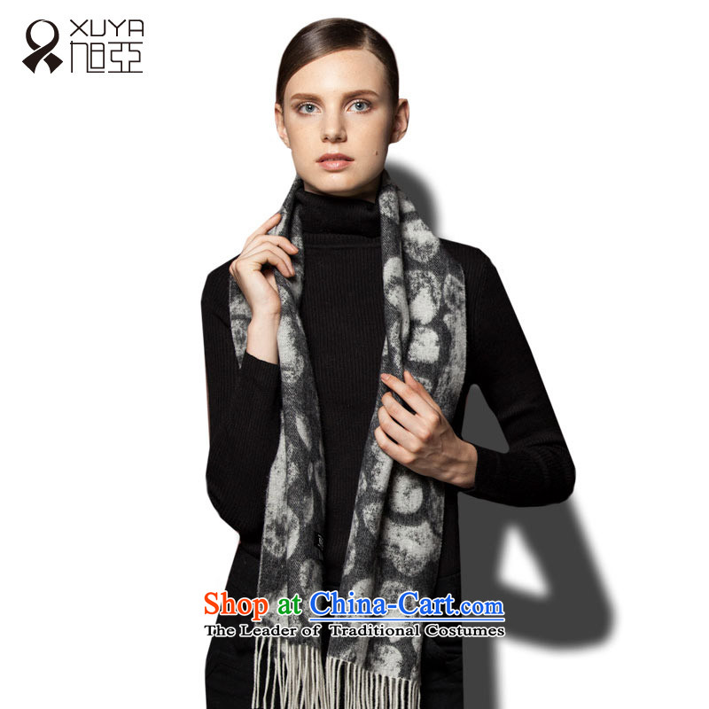 The wool blend yarn, Ms. Xu Jacquard Scarf Sleek and versatile, autumn and winter warm thick, black and white, Jacquard