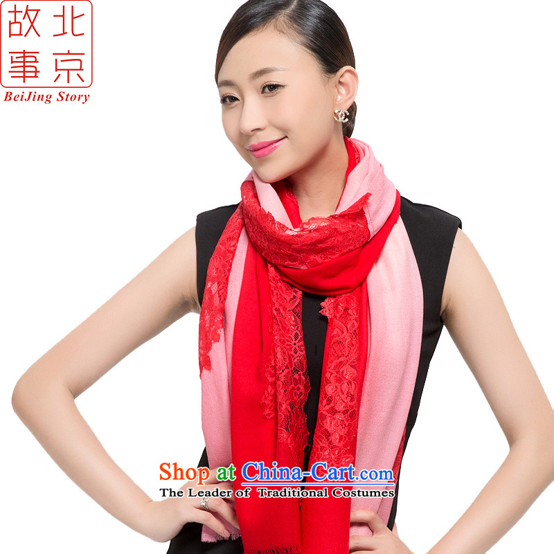 Beijing story scarf female autumn and winter 2015 New 80 wool lace warm Long Red Shawl