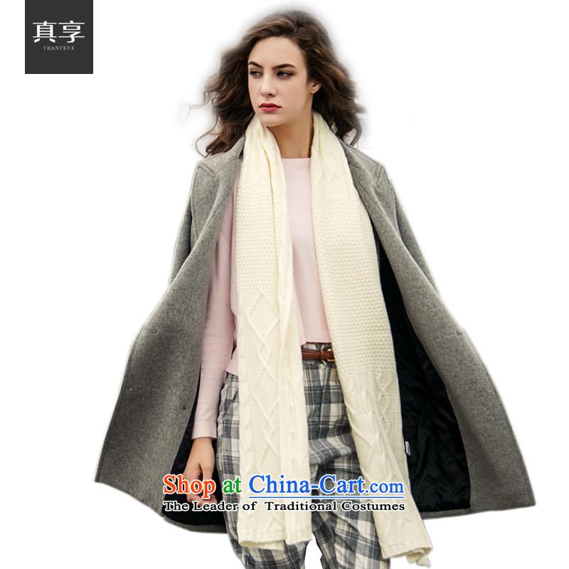Really enjoy women Knitted Scarf autumn and winter Warm Korean modern twist knitting a W003 Cream