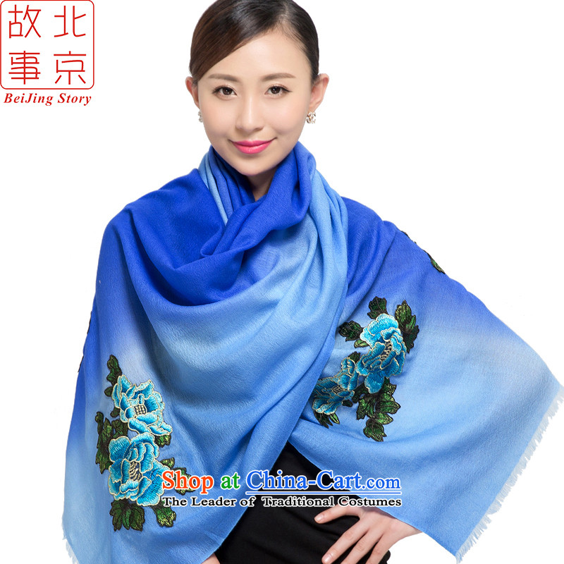 Beijing story scarf female autumn and winter2015 New 80 wool embroidered shawl women blue