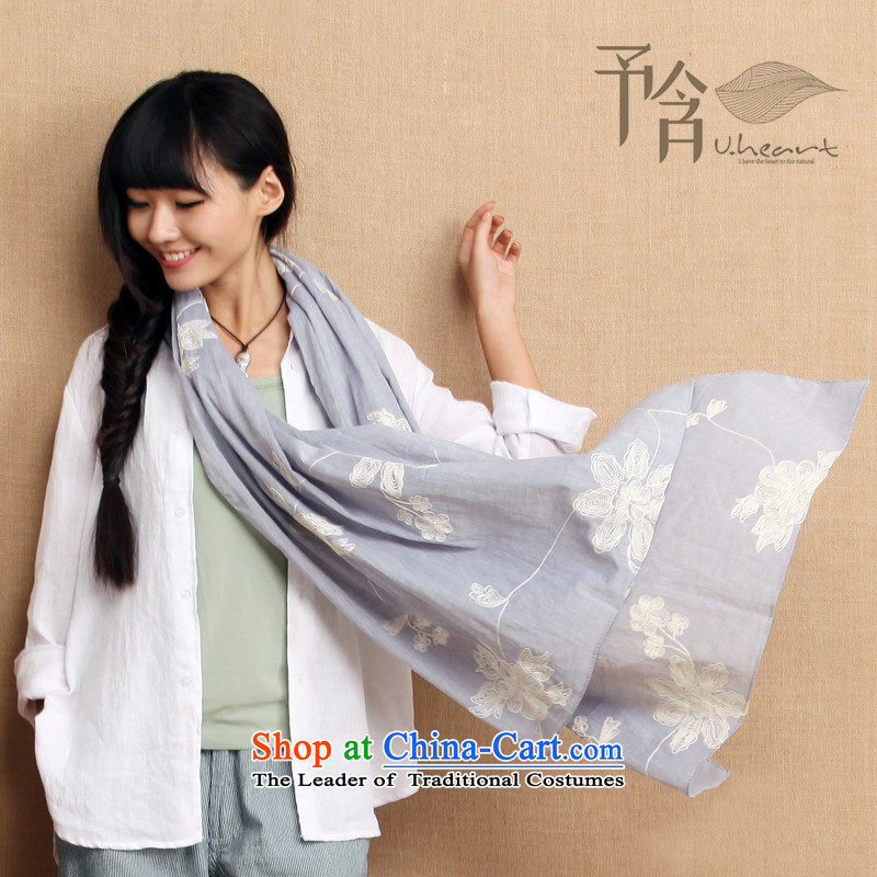 To be included in a soothing arts embroidery scarf autumn 2015 New Product original cotton linen extralong shawl two through elections as soon as possible to the blue-gray Micro _ to196*66cm micro