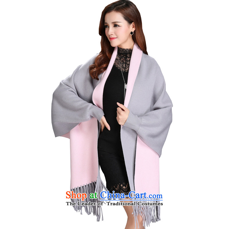 The autumn and winter new women's double-sided mink coats, lint-free knitting cardigan bat shirt edging cloak shawl sweater jacket female gray powder