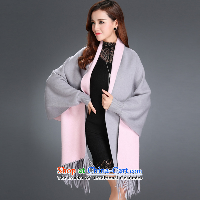 The autumn and winter new women's double-sided mink coats, lint-free knitting cardigan bat shirt edging cloak shawl sweater jacket, gray powder female Maha moheman (Cayman) , , , shopping on the Internet