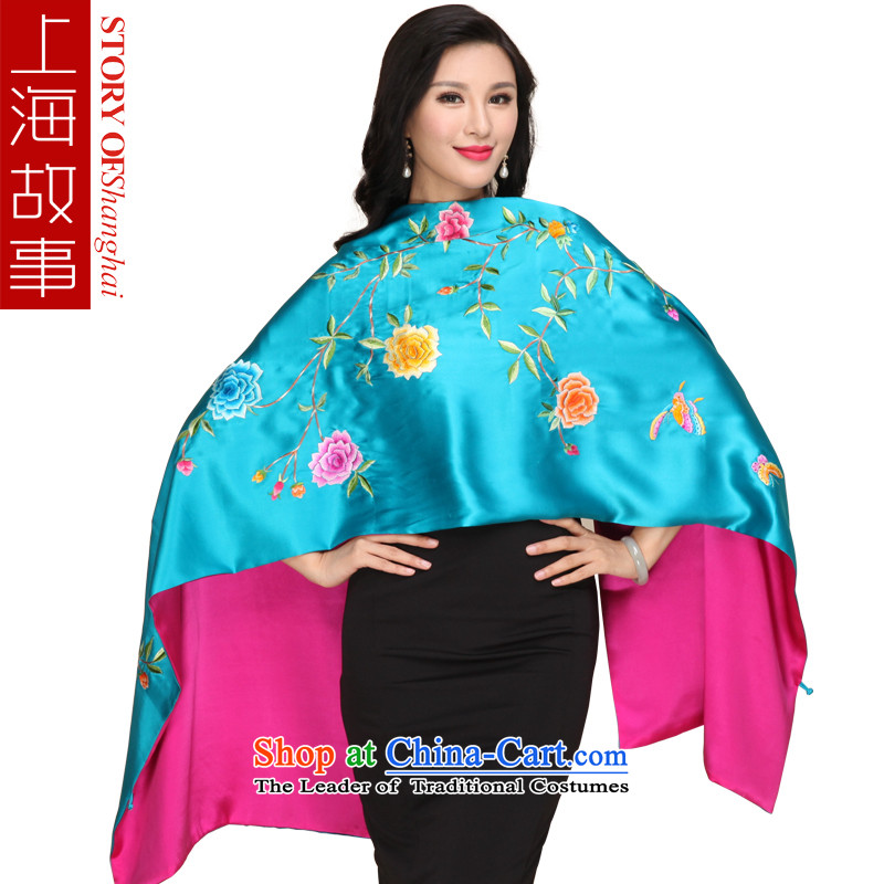 Shanghai Story 2015 new products silk satin hand embroidery long shawl embroidered scarf4313dos Santos silk embroidery Peony