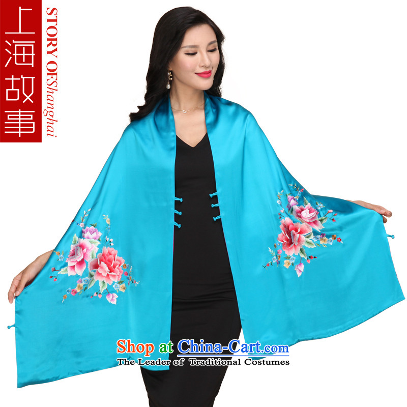 Shanghai Story satin embroidered hand embroidery peony duplex upscale silk shawls coin herbs extract long scarf
