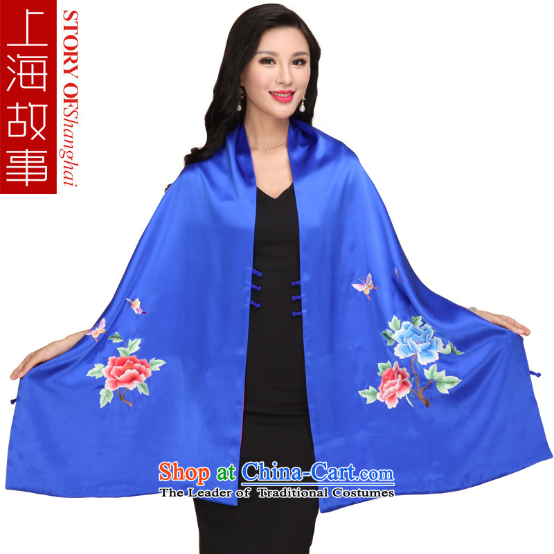 Shanghai Story new up silk satin embroidered peony shawl embroidered scarf dual use of Sauna silk scarfs