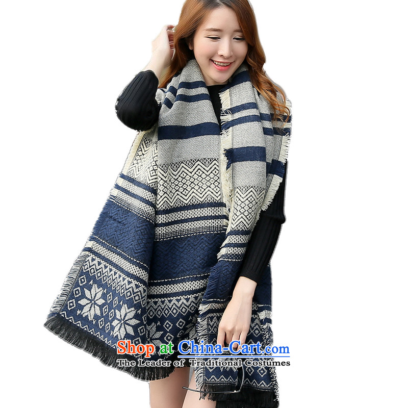 The end of the scarf female winter snowflakes new Korean wild knitting thick warm knitted cardigans, long blue patterned