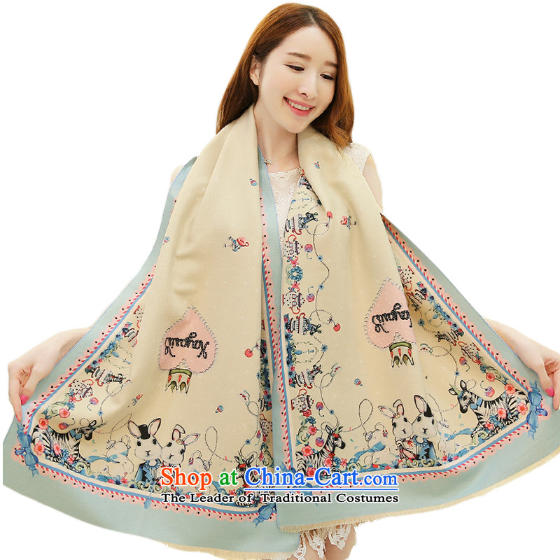 The Korean version of the stylish autumn and winter new Rabbit Crown scarf air-conditioning with two shawls wild shawl beige