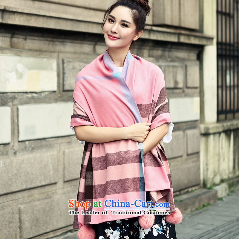 Small Fox Femme Fatale 2015 autumn and winter new Seto rabbit hair ball emulation pashmina shawl two with women Pink