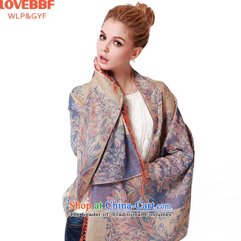 2015 Autumn and winter LOVEBBF Ms. new scarf national elegant jacquard stream su specifications with two shawlsNWJ-02 LWJ-02- Jacquard Blue purple are code