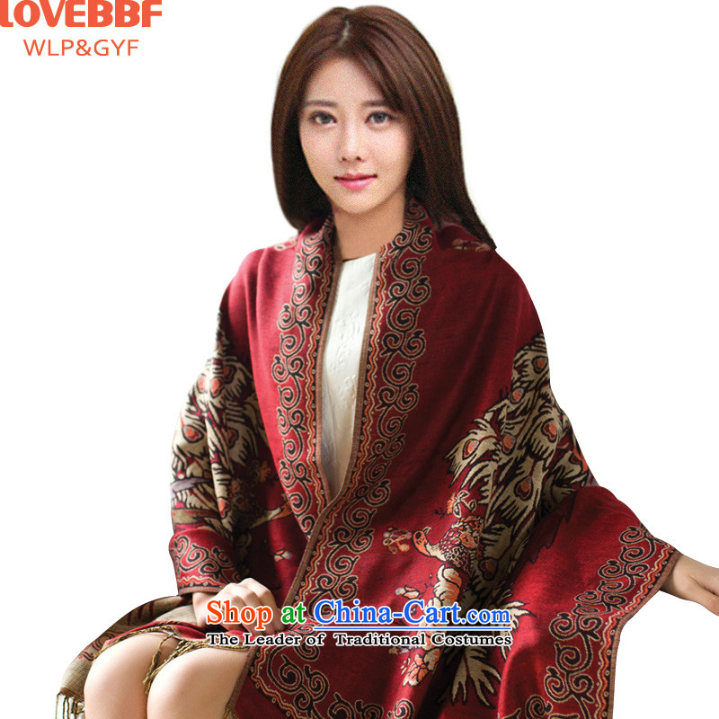 2015 Autumn and winter LOVEBBF Ms. new stamp flow of ethnic scarves su soft4313 LWJ-02- shawl Song Birds are chinese red code