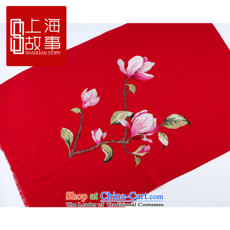 Shanghai Story counters Ms. genuine long wool scarf Magnolia Lau heung woolen shawl Magnolia Xiang - Burgundy