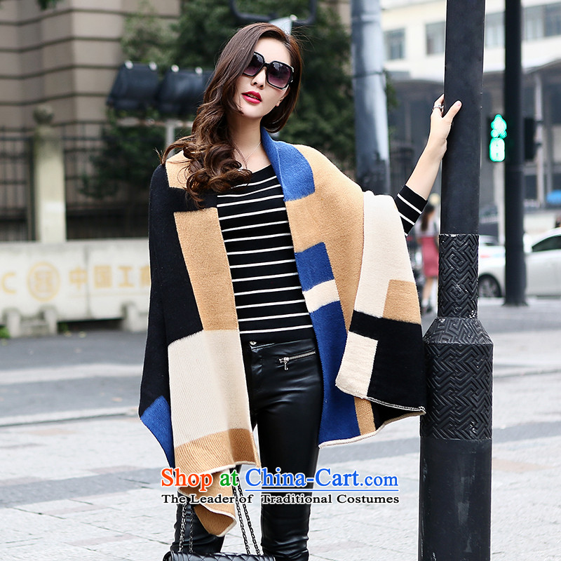 Small Fox Femme Fatale 2015 autumn and winter western color emulation pashmina spell oversized shawl two with women thick warm blue spell beige