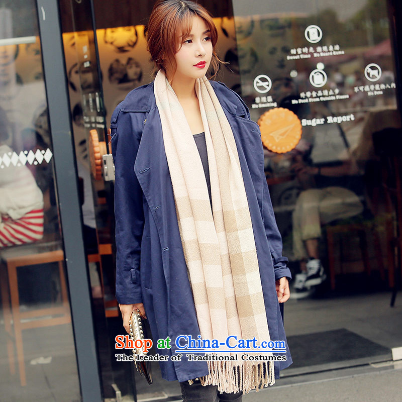 Small Wind England Fox Femme Fatale Classic Grid spell pashmina shawl color emulation two with women winter long warm pink