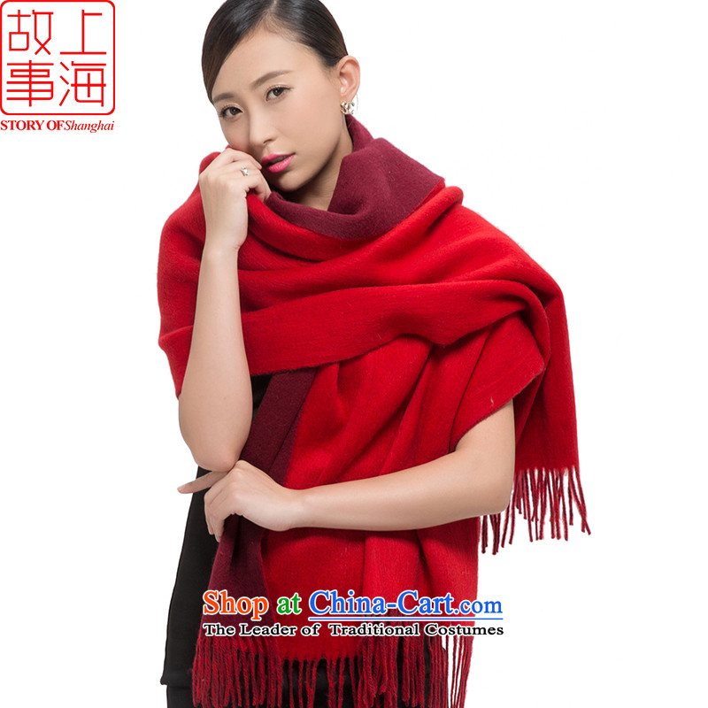 Shanghai Story2015 new wool pashmina, warm winter stylish ultra-long shawl178028-9 thicksolid red double-sided