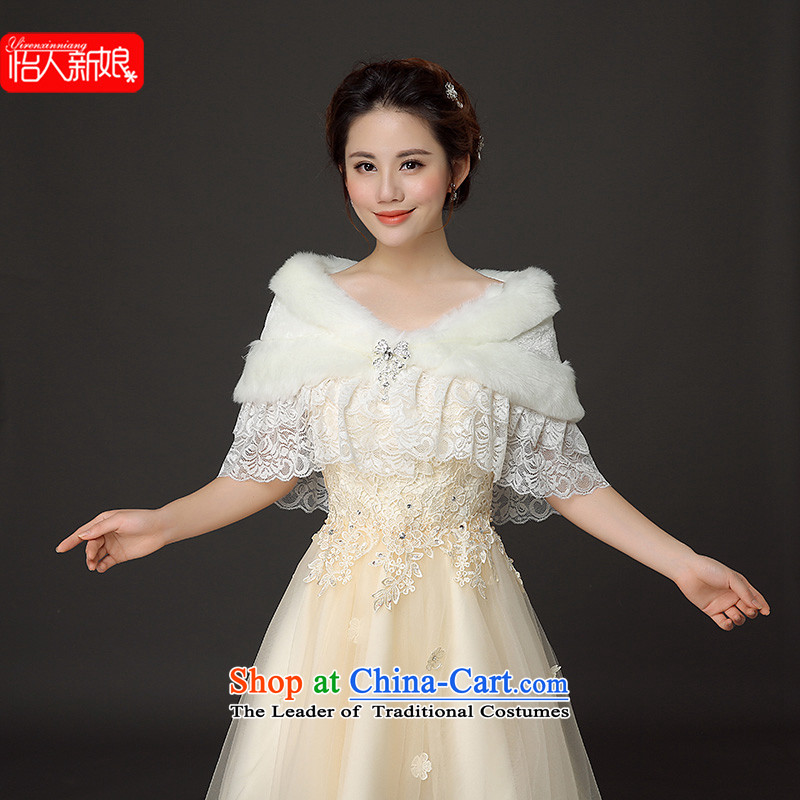 Thick autumn and winter) Emulation Fox gross white marriages with wedding dress qipao shawl white are code gross