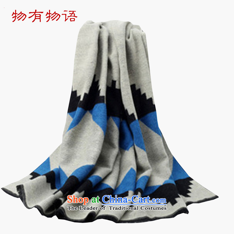 With a Chinese girl Korean pashmina autumn and winter Ms. new diamond grid extension of the scarf thick Fancy Scarf two with blue, gray