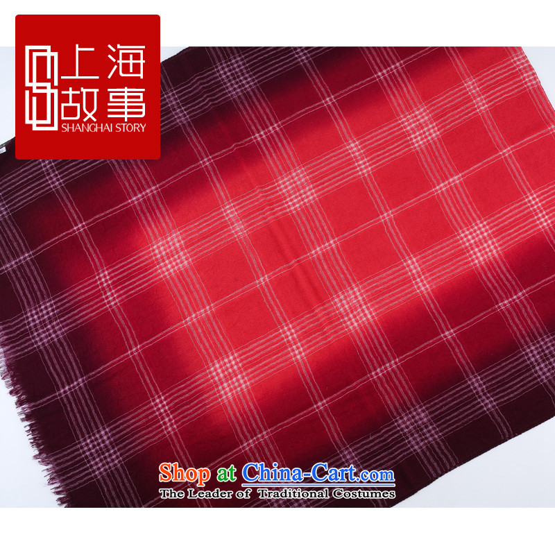 Shanghai Story counters genuine autumn and winter on new stylish /pashmina shawl long wool scarf of the grid - Red