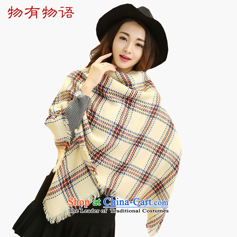 With the end of the scarf Monogatari female winter 2015 new Korean Emulation Cashmere scarf grid color plane geometry, Fancy Scarf two coffee