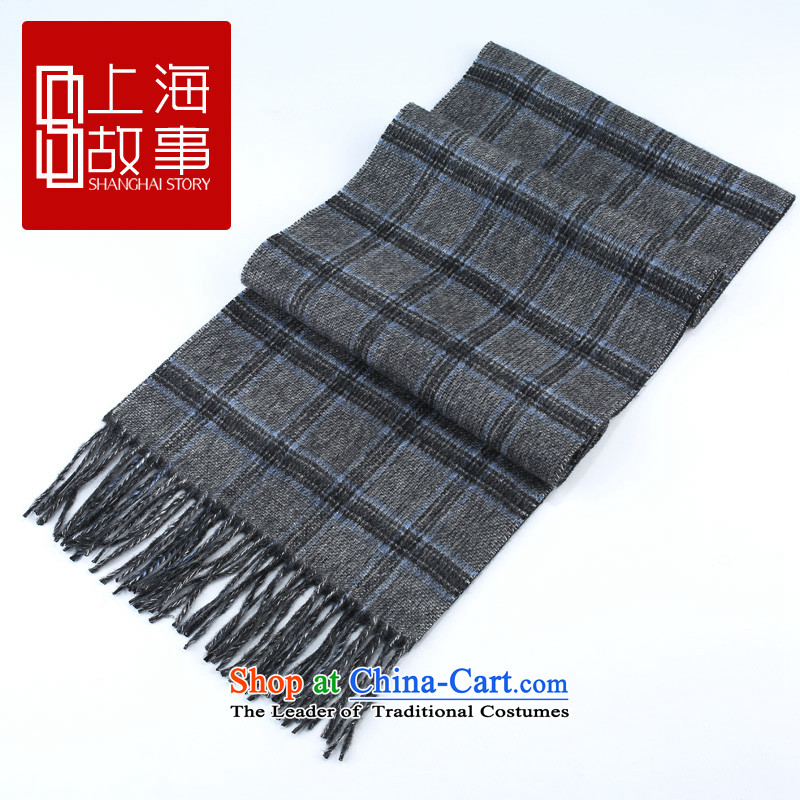 Shanghai Story counters genuine autumn and winter on new stylish /pashmina shawl long wool scarf fashion style - blue & gray