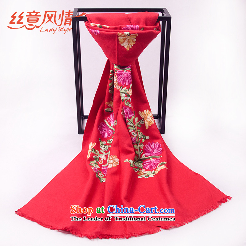 The population to feel the chador embroidery in a flower older warm shawl long autumn and winter scarf #09 with women and two large red