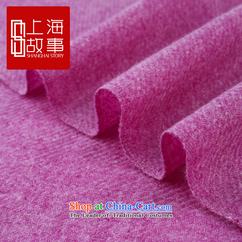 Shanghai Story counters genuine autumn and winter on new stylish /pashmina shawl long woolen cravat pure color Love Love of pure color C C-Purple