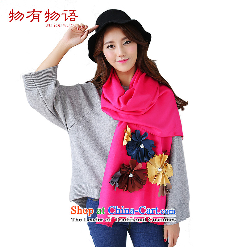 With the end of the scarf women Monogatari Western autumn and winter of Considerate New Hua cashmere pure color arts fresh Korean Knitting scarves knitted cardigans dual-use the red