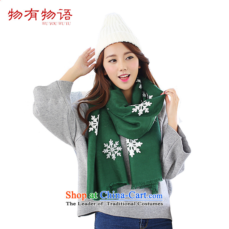 With the end of the scarf Monogatari female Korean version of the new winter retro arts young women snowflake pure color long cashmere knitting sweater wild fancy scarf dual-use Dark Green