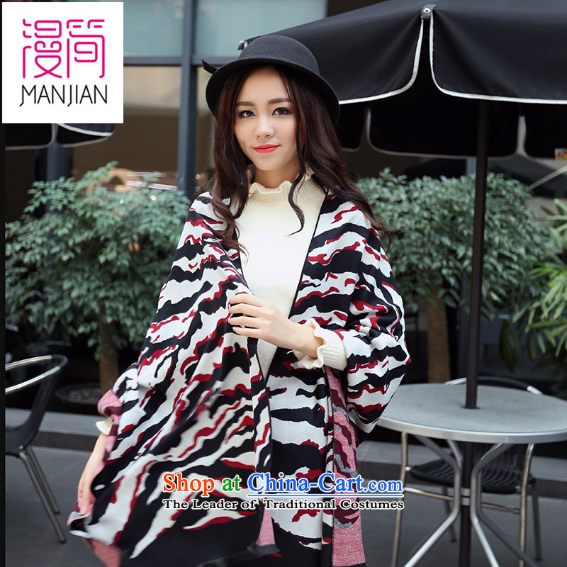 2015 Autumn and winter new emulation pashmina shawl Ms.4313long thick warm-colored knitting a black-and-white red stripe190*70 flows around