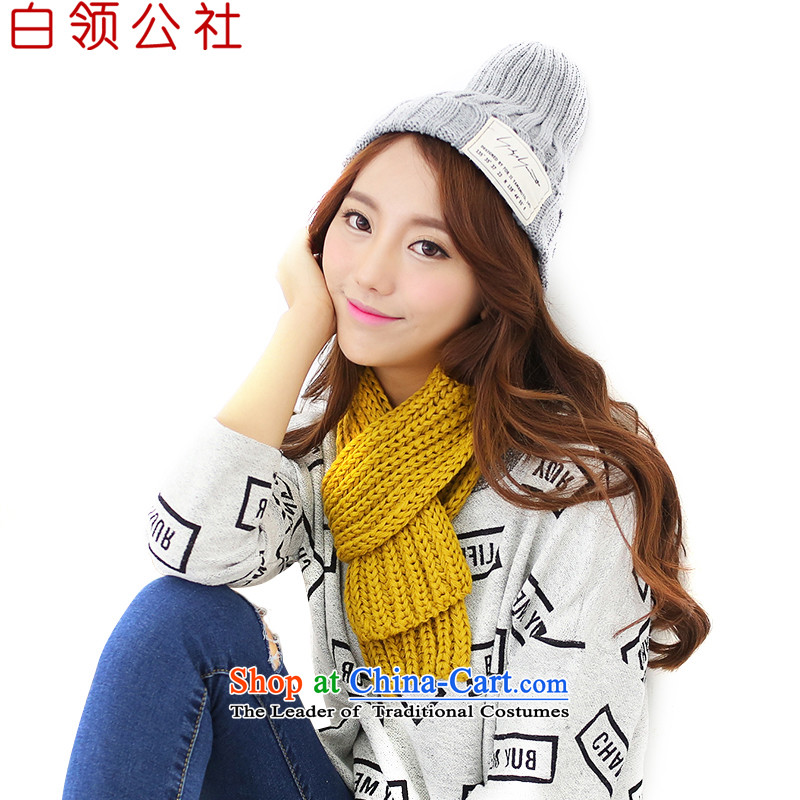 With the end of the scarf Monogatari female Korean version of autumn and winter coarse Knitting scarves knitted solid color small thick warm men and women a wild yellow scarves