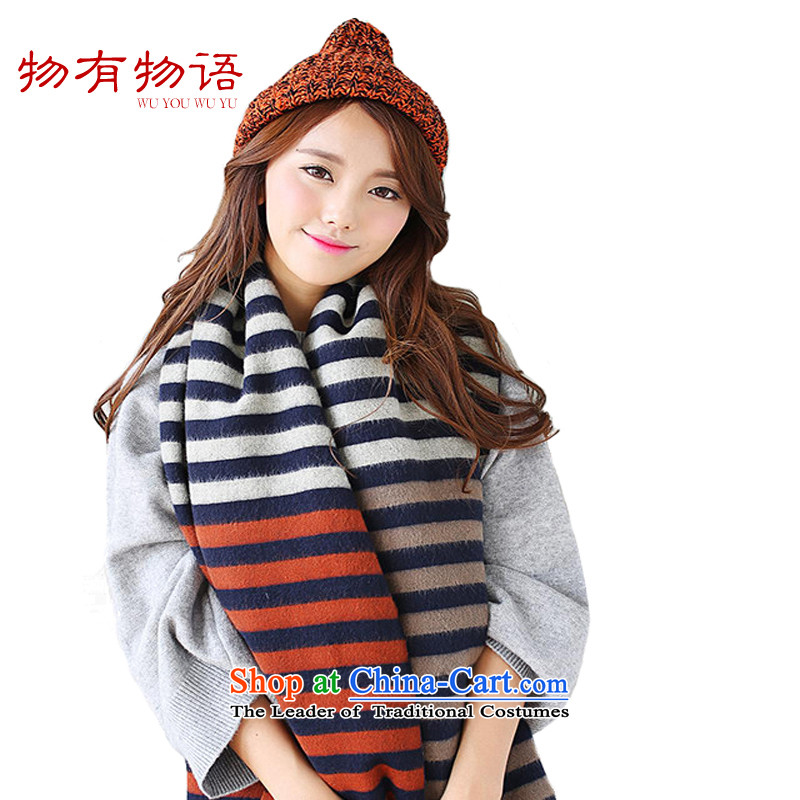 With the end of the scarf Monogatari female autumn and winter new cashmere tri-color streaks fresh wind-thick scarf Ms. navy warm a Figure Color