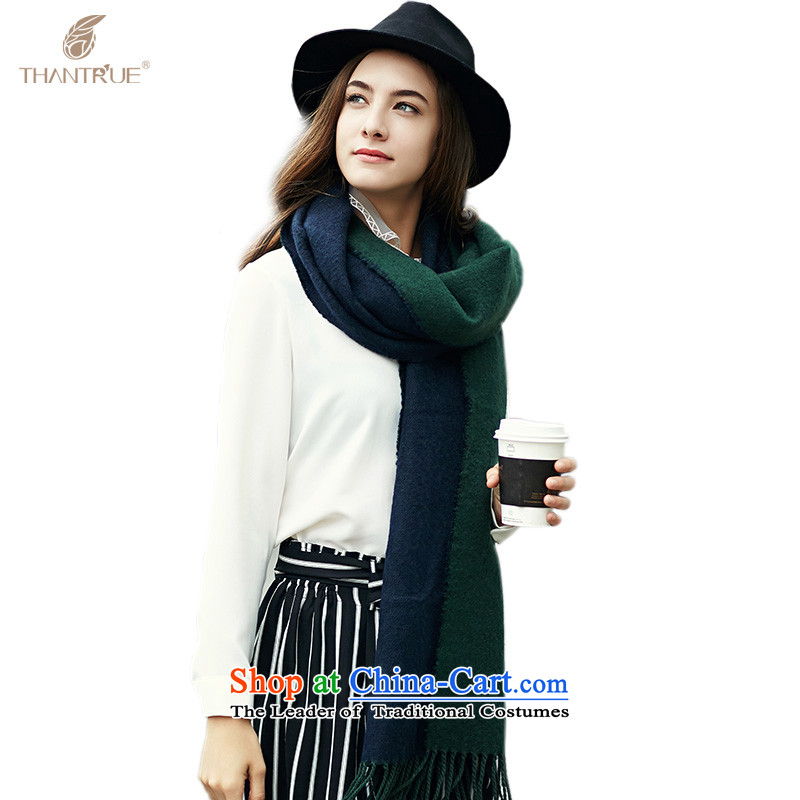 Ms. enjoy true thantrue autumn and winter women woven duplex scarf western thick large Fancy Scarf W0354313Navy Blue/Green