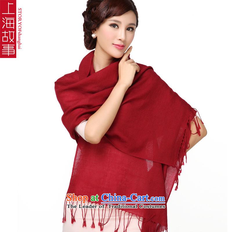 Shanghai Story Pure Wool scarf edging scarf warm bourdeaux