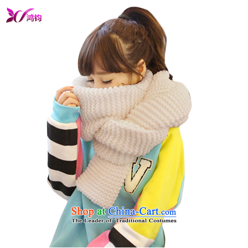 Hung-kwan new Korean version of Autumn and Winter Sweater scarves,420 g, thickening of the scarf of autumn and winter female Korean students air-conditioning shawl 192_40CM Beige