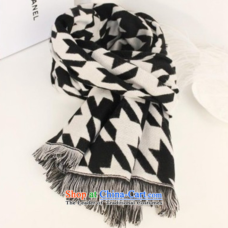 In 2015, the latest version of Sang-mi stylish Western cashmere edging chidori, scarves and large shawl a female black and white chidori Grid
