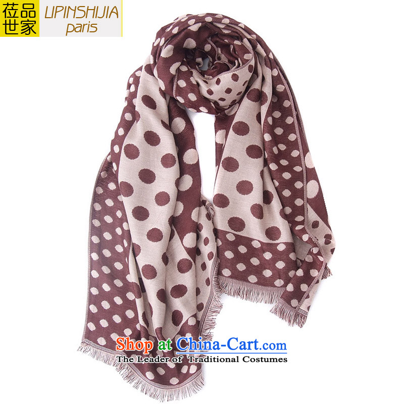Resolution No.2015 of the new duplex family new winter garden wind dot Sleek and versatile female Korean Thick Long shawl scarf autumn and winter, Su coffee 185X65 point