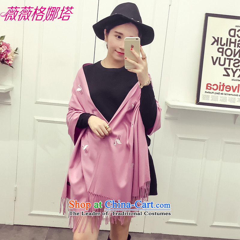 Weiwei Grid Natasha Korean students of autumn and winter inulae embroidery scarf of ethnic arts emulation cashmere shawls warm with two female AA1547 leather Pink