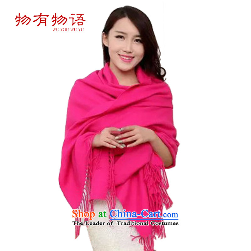 With the end of the scarf Korean Monogatari autumn and winter solid color pashmina shawl women current literature with two Su wild extended a warm thick red60*200
