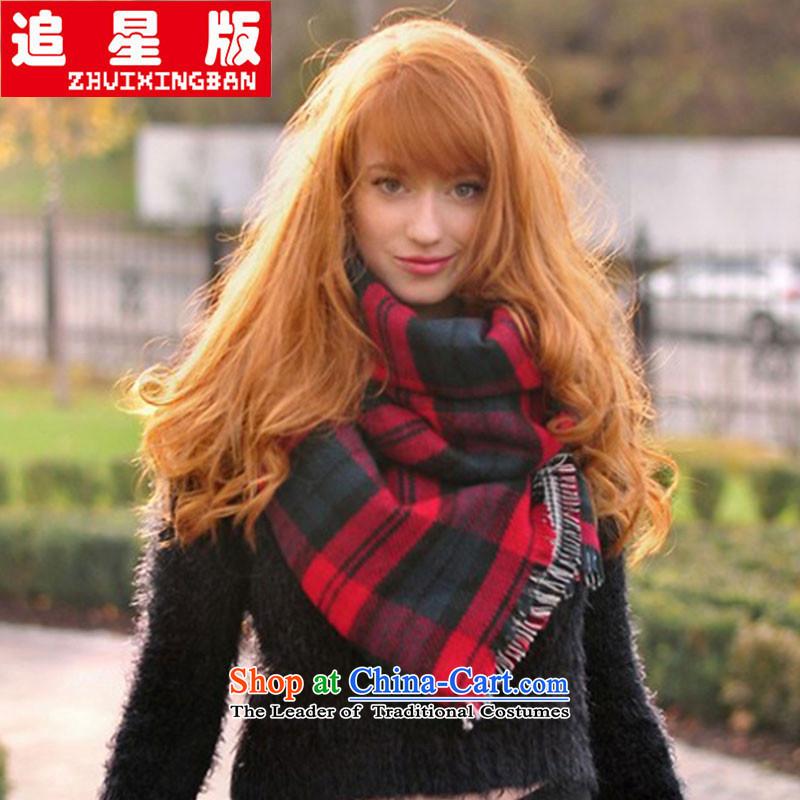 Hong Kong Star Version ZXW090 deviation scarf female autumn and winter shawl dual-use a warm scarf thick cashmere Korean men shawl duplex latticed Red Scarf thick scarf