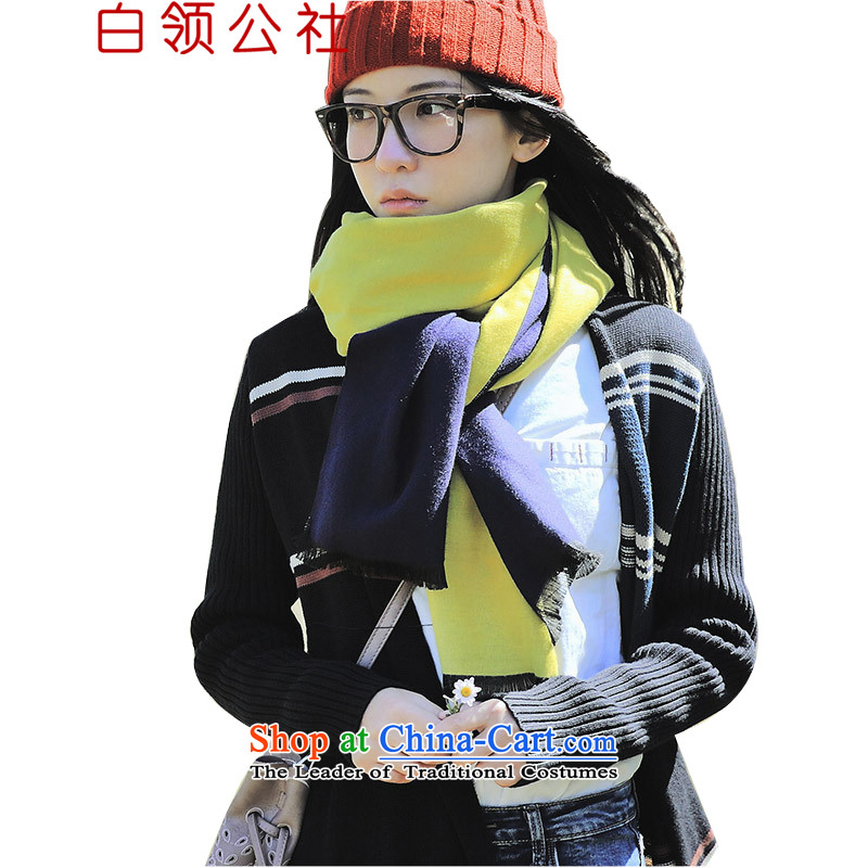 White-collar Corporation2015 autumn and winter new styling mandatory minimalist art duplex color plane collision thick Fancy Scarf spell color girl Huang70_200cm navy blue