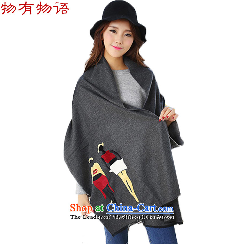 With the end of the scarf Monogatari female Korean version of winter cashmere to and fro the villain stamp solid color scarf oversized /pashmina shawl two with dark gray