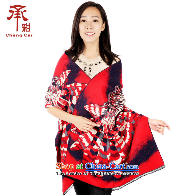 The color of the scarf female autumn and winter thick a national wind Fancy Scarf two wings using freedom - Red