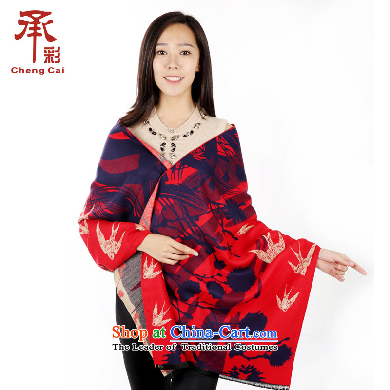 The color of the scarf, autumn and winter flower stylish stamp Fancy Scarf appear to be returned with two - Chinese red